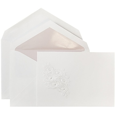 JAM Paper® Wedding Invitations, Large, 5.5 x 7.75, White Lavender Lined Env White Embossed Floral Bouquet, 50/pack (5268395la)