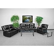 Harmony Series 3-Piece Leather Reclining Sofa Set, Black (BT-70597-RLS-SET-GG)
