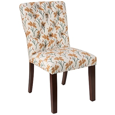 Skyline Furniture Mfg Tufted Chair in Vanves Floral Ochre Teal (68-6VNVFLROCHTL)