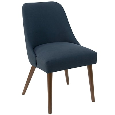 Skyline Furniture Rounded Back Accent Chair in Linen Navy (84-6LNNNV)