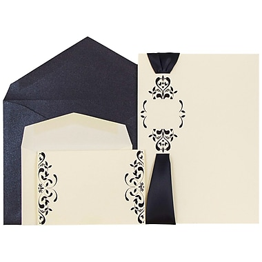 JAM Paper® Wedding Invitations, Combo, 1 small & 1 large, Ecru Floral Cards w/ Black Ribbon, 50/pack (5268864blCO)