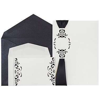 JAM Paper® Wedding Invitations, Combo, 1 small & 1 large, White Floral Cards w/ Black Ribbon Env, 50/pack (5268861blCO)