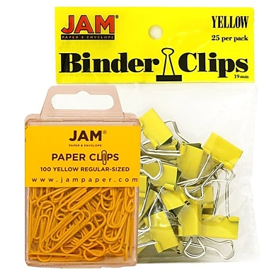 JAM Paper® Colored Office Desk Supplies Bundle, Yellow, Paper Clips & Binder Clips, 1 Pack of Each, 2/pack (218334ye)