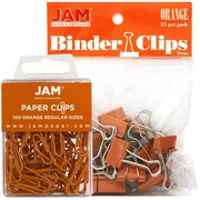 JAM Paper® Colored Office Desk Supplies Bundle, Orange, Paper Clips & Binder Clips, 1 Pack of Each, 2/pack (218334or)
