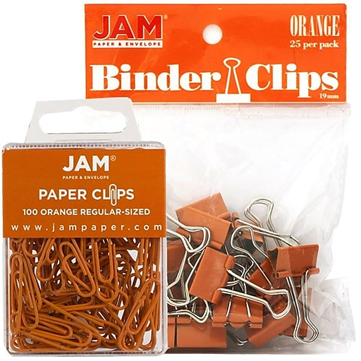 JAM Paper® Office Desk Supplies Bundle, Orange, Small Paper Clips & Small Binder Clips, 1 Pack of Each (218334or)