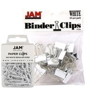 JAM Paper® Colored Office Desk Supplies Bundle, White, Paper Clips & Binder Clips, 1 Pack of Each, 2/pack (218334wh)