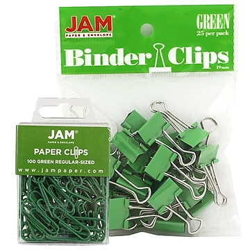 JAM Paper® Office Desk Supplies Bundle, Green, Small Paper Clips & Small Binder Clips, 1 Pack of Each (218334gr)