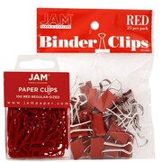 JAM Paper® Colored Office Desk Supplies Bundle, Red, Paper Clips & Binder Clips, 1 Pack of Each, 2/pack (218334re)