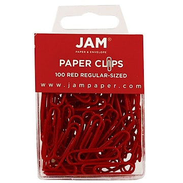 JAM Paper® Office Desk Supplies Bundle, Red, Small Paper Clips & Small Binder Clips, 1 Pack of Each (218334re)