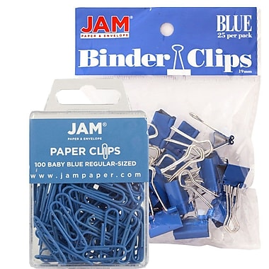 JAM Paper® Colored Office Desk Supplies Bundle, Blue, Paper Clips & Binder Clips, 1 Pack of Each, 2/pack (218334bu)