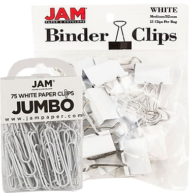 JAM Paper® Colored Office Desk Supplies Bundle, White, Jumbo Paper Clips & Medium Binder Clips, 1 Pack of Each (4218339WH)