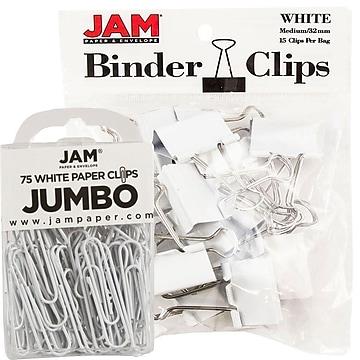 JAM Paper® Office Desk Supplies Bundle, White, Jumbo Paper Clips & Medium Binder Clips, 1 Pack of Each (4218339WH)