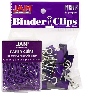 JAM Paper® Office Desk Supplies Bundle, Purple, Small Paper Clips & Small Binder Clips, 1 Pack of Each (218334pu)
