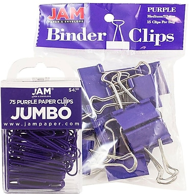 JAM Paper® Colored Office Desk Supplies Bundle, Purple, Jumbo Paper Clips & Medium Binder Clips, 1 Pack of Each (4218339PU)