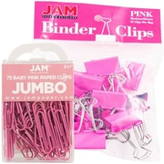 JAM Paper® Colored Office Desk Supplies Bundle, Pink, Jumbo Paper Clips & Medium Binder Clips, 1 Pack of Each (4218339PI)