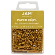JAM Paper® Colored Standard Paper Clips, Small, Gold Paperclips, 100/pack (21832058)