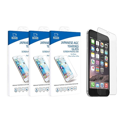 Rhino Japanese AGC certified Tempered Glass Screen Protector Cover for Apple iPhone 8 / 7 Plus / 6s Plus / 6 Plus (5.5) -3PK