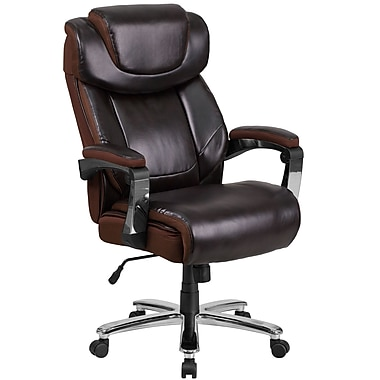 Flash Furniture Hercules Series 500 lb. Capacity Big & Tall Leather Executive Swivel Office Chair, Brown (GO2223BN)
