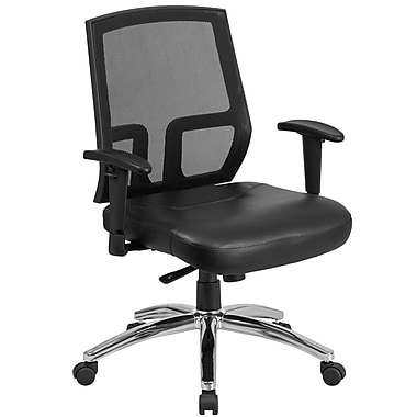 HERCULES Series 400 lb. Capacity Big & Tall Mesh Mid-Back Executive Swivel Chair Leather Seat (CPA337A01LEA)
