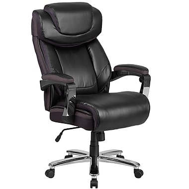 HERCULES Series 500 lb. Capacity Big & Tall Black Leather Executive Swivel Office Chair (GO2223BK)
