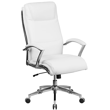Flash Furniture High Back Designer Leather Executive Swivel Office Chair with Padded Arms, White (GO2192WH)