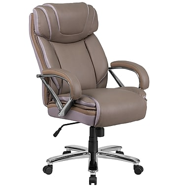 Flash Furniture Hercules Series Big & Tall Leather Executive Swivel Office Chair with Extra Wide Seat, Taupe (GO2092M1TP)