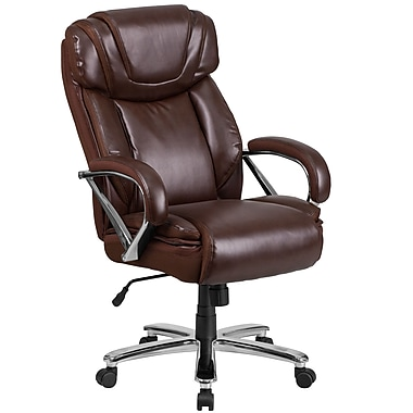 HERCULES Series 500 lb. Capacity Big & Tall Brown Leather Executive Swivel Office Chair with Extra Wide Seat (GO2092M1BN)