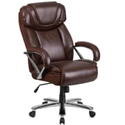 HERCULES Series 500 lb. Capacity Big & Tall Brown Leather Executive Swivel Office Chair with Extra Wide Seat