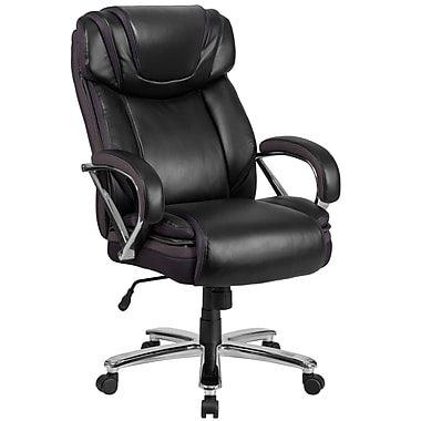 Flash Furniture Hercules Series Big & Tall Leather Executive Swivel Office Chair with Extra Wide Seat, Black (GO2092M1BK)