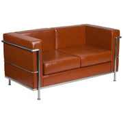 HERCULES Regal Series Contemporary Cognac Leather Loveseat with Encasing Frame (ZBREG8102LSCOG)