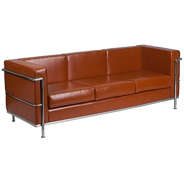 Flash Furniture Hercules Regal Series Contemporary Cognac Leather Sofa with Encasing Frame (ZBREG8103SOFCOG)