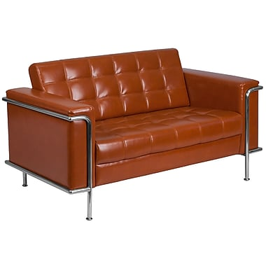 Flash Furniture Hercules Lesley Series Contemporary Leather Loveseat with Encasing Frame, Cognac (ZBLES8090LSCG)