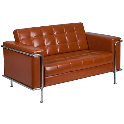 HERCULES Lesley Series Contemporary Cognac Leather Loveseat with Encasing Frame (ZBLES8090LSCG)