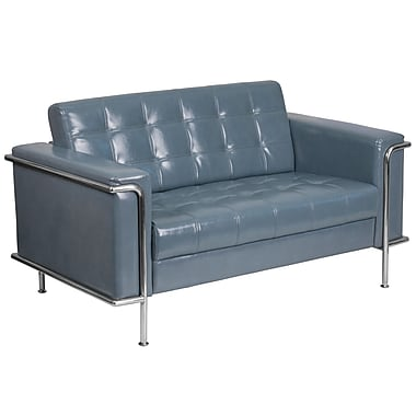 HERCULES Lesley Series Contemporary Gray Leather Loveseat with Encasing Frame (ZBLES8090LSGY)
