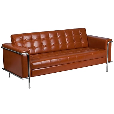 Flash Furniture Hercules Lesley Series Contemporary Leather Sofa with Encasing Frame, Cognac (ZBLES8090SOCG)