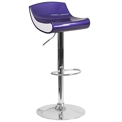 Flash Furniture Contemporary Blue-Purple and White Adjustable Height Plastic Barstool with Chrome Base (CH101010BL)