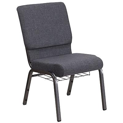 HERCULES Series 18.5''W Dark Gray Fabric Church Chair with Book Rack - Silver Vein Frame (FCH185SVDGYB)