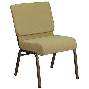 HERCULES Series 21'' Extra Wide Moss Green Fabric Stacking Church Chair with Gold Vein Frame (FDCH02214GVGN)