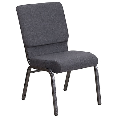 HERCULES Series 18.5''W Dark Gray Fabric Stacking Church Chair - Silver Vein Frame (FDCH185SVDKGY)