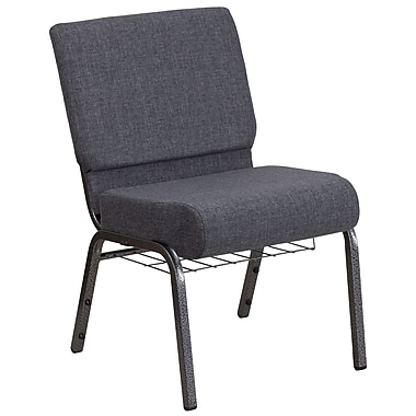 Flash Furniture Hercules Series Book Rack Fabric Church Chair, Dark Grey (FCH2214SVDKGYB)
