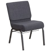 HERCULES Series 21'' Wide Dark Gray Fabric Church Chair with 4'' Thick Seat, Book Rack - Silver Vein Frame (FCH2214SVDKGYB)