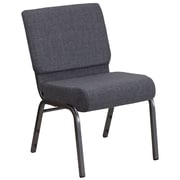 HERCULES Series 21'' Wide Dark Gray Fabric Stacking Church Chair with 4'' Thick Seat - Silver Vein Frame (FDCH02214SVDKGY)