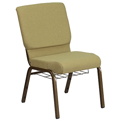 HERCULES Series 18.5''W Moss Green Fabric Church Chair with Cup Book Rack - Gold Frame (FCH185GVGNB)