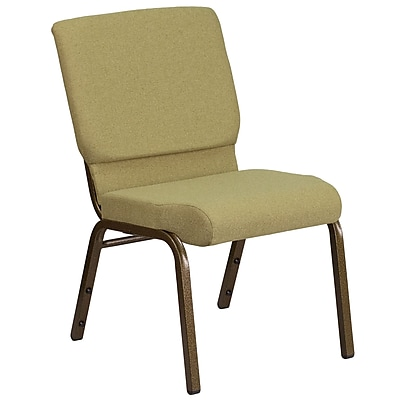 HERCULES Series 18.5''W Moss Green Fabric Stacking Church Chair withGold Vein Frame (FDCH185GVGN)