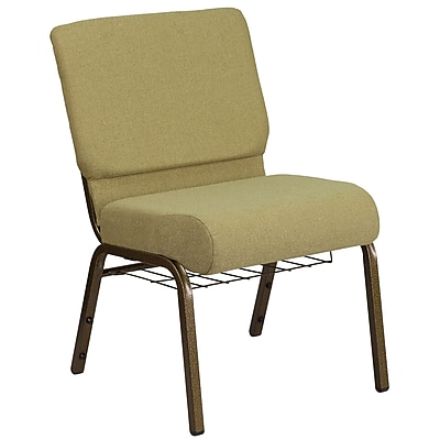 HERCULES Series 21'' Wide Moss Green Fabric Church Chair with Cup Book Rack - Gold Vein Frame (FCH2214GVGRNB)
