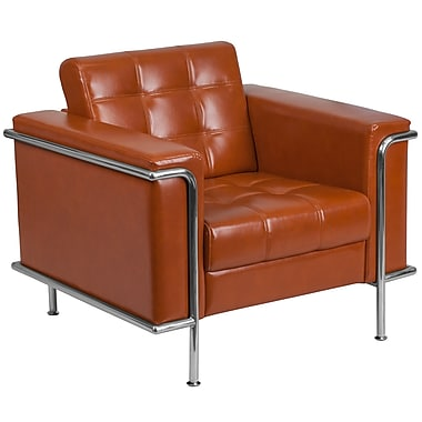 HERCULES Lesley Series Contemporary Cognac Leather Chair with Encasing Frame (ZBLES8090CHCG)