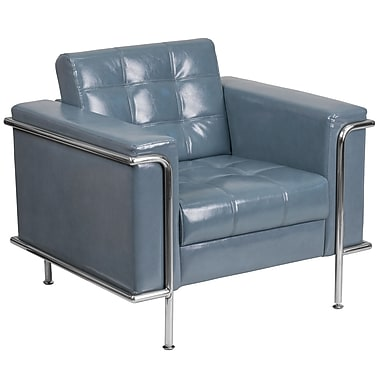 HERCULES Lesley Series Contemporary Gray Leather Chair with Encasing Frame (ZBLES8090CHGY)