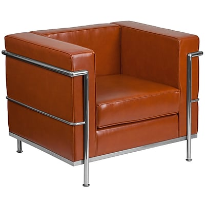 HERCULES Regal Series Contemporary Cognac Leather Chair with Encasing Frame (ZBREG8101CHCOG)