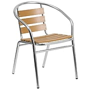 Flash Furniture Aluminum Commercial Indoor-Outdoor Restaurant Stack Chair with Triple Slat Faux Teak Back (TLH017W)
