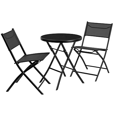 Flash Furniture 23.75'' Round Tempered Glass Metal Outdoor Table with 2 Textilene Fabric Folding Chairs (TLH137RD)